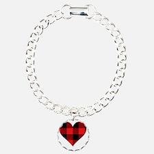 Red PLaid Heart Bracelet
