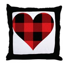 Red PLaid Heart Throw Pillow