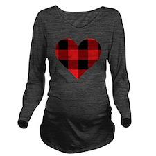 Red PLaid Heart Long Sleeve Maternity T-Shirt