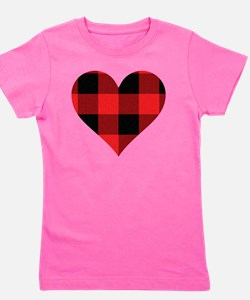 Red PLaid Heart Girl's Tee