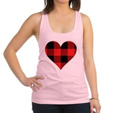 Red PLaid Heart Racerback Tank Top