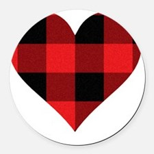 Red PLaid Heart Round Car Magnet