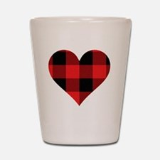 Red PLaid Heart Shot Glass