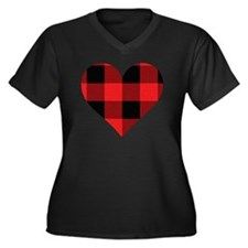 Red PLaid He Women's Plus Size Dark V-Neck T-Shirt