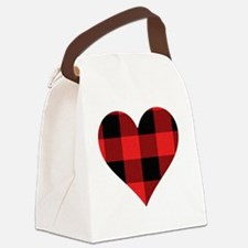 Red PLaid Heart Canvas Lunch Bag