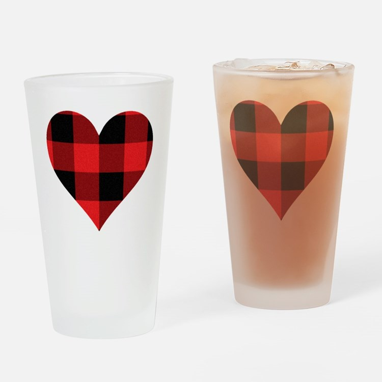 Red PLaid Heart Drinking Glass