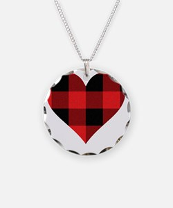 Red PLaid Heart Necklace