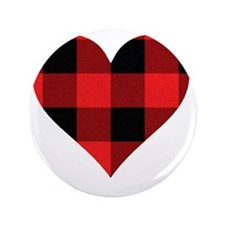 """Red PLaid Heart 3.5"""" Button"""