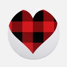 Red PLaid Heart Round Ornament