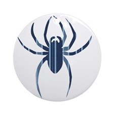 Blue Striped Spider Round Ornament