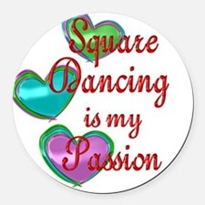 Square Dancing Passion Round Car Magnet