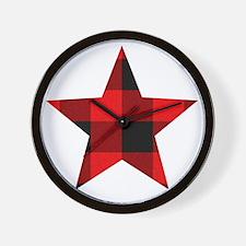 Red Plaid Star Wall Clock