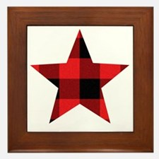 Red Plaid Star Framed Tile