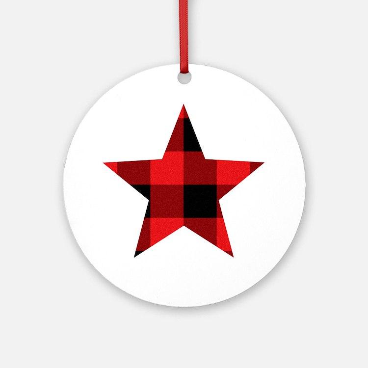 Red Plaid Star Round Ornament