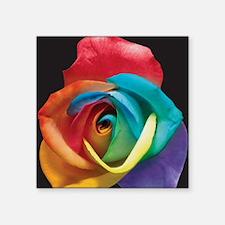 "Rainbow Rose Square Sticker 3"" x 3"""