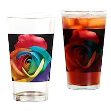 Rainbow Rose Drinking Glass