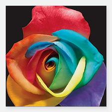 """Rainbow Rose Square Car Magnet 3"""" x 3"""""""