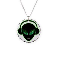 Alien Headphones Necklace Circle Charm