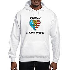 Navy Wife Heart Jumper Hoody