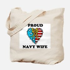 Navy Wife Heart Tote Bag