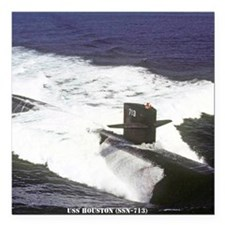 """nc uss houston note card Square Car Magnet 3"""" x 3"""""""
