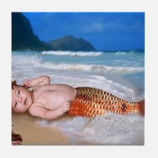 mermaid baby Tile Coaster