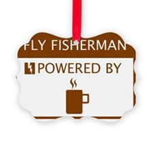 Fly Fisherman Powered by Coffee Ornament