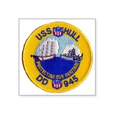 "uss hull patch transarent Square Sticker 3"" x 3"""