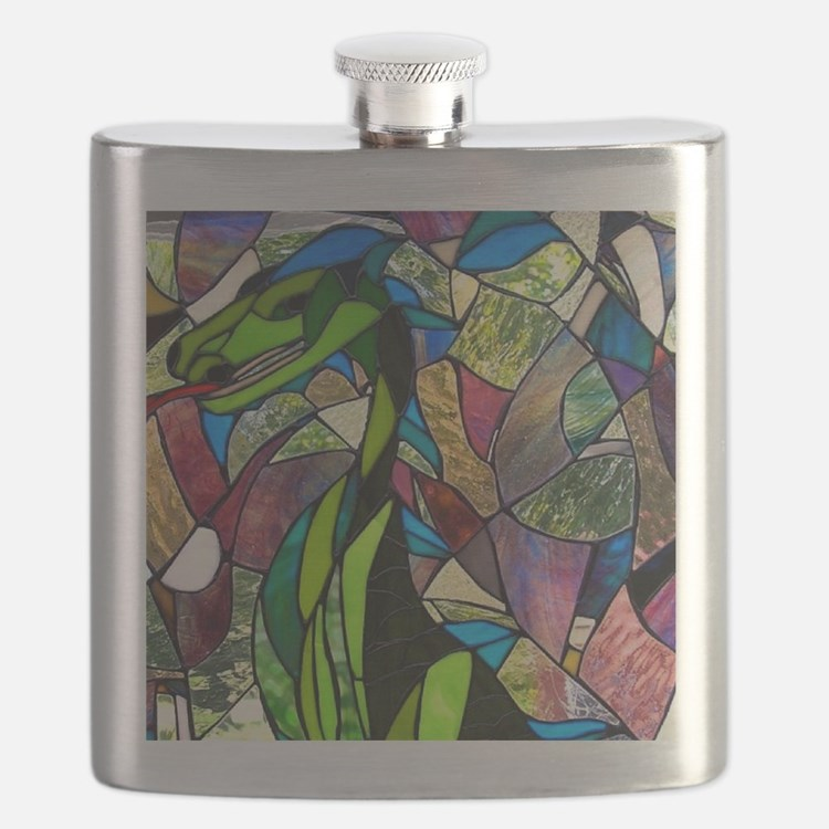 Mystic Dragon in Stained Glass Flask