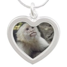 Capuchin Monkey Silver Heart Necklace