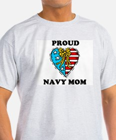 Navy Mom Heart T-Shirt