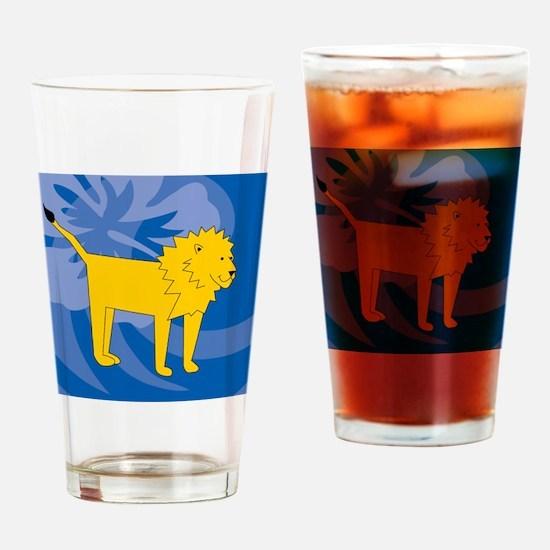 Lion Round Ornament Drinking Glass