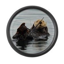 RCoaster_Otter_5 Large Wall Clock