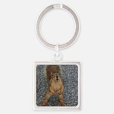 Squirrel Friend Square Keychain