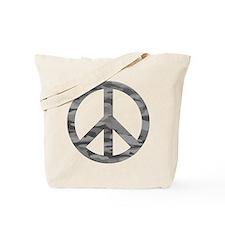 Grey Camo Peace Logo Tote Bag
