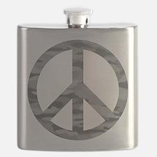 Grey Camo Peace Logo Flask