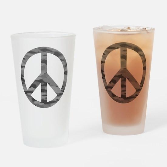 Grey Camo Peace Logo Drinking Glass