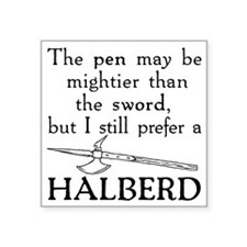 "Halberd Black Square Sticker 3"" x 3"""