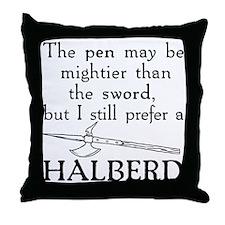 Halberd Black Throw Pillow