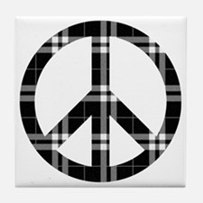 Black Plaid Peace Logo Tile Coaster
