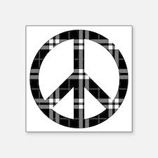 "Black Plaid Peace Logo Square Sticker 3"" x 3"""