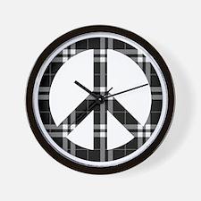 Black Plaid Peace Logo Wall Clock