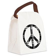 Black Plaid Peace Logo Canvas Lunch Bag
