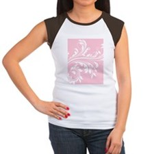 Pink and White Floral P Women's Cap Sleeve T-Shirt