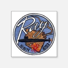 """uss ray patch transparent Square Sticker 3"""" x 3"""""""