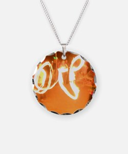Love Fire Necklace Circle Charm