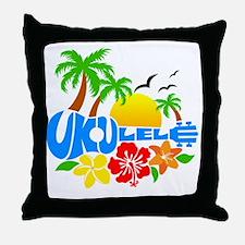 Ukulele Island Logo Throw Pillow
