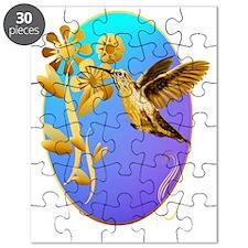 Gold Hummingbird Oval Puzzle