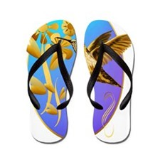 Gold Hummingbird Oval Flip Flops