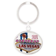 21 Birthday Las Vegas Balloon Oval Keychain